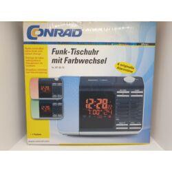 Rádiójel vezérelt világítós digitális ébresztőóra, színváltós lámpával, 167x113x60 mm