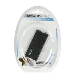 KÖNIG AKTÍV 4 PORTOS USB HUB ELOSZTÓ + TÁPEGYSÉG CMP-USB2HUB22 2év GARANCIA