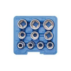 """10 részes dugókulcs készlet, 1/2"""", coll méretekben műanyag dobozban (BGS-2434)"""