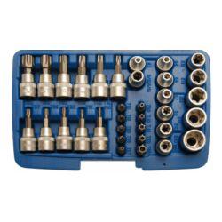 """34 részes T-torx E-torx dugókulcs, és bit készlet, 3/8"""" dobozban (BGS-5021)"""