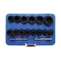 """16 darabos Sérült fejű csavar eltávolító készlet, 8-27 mm, 1/2"""" (BGS-5269)"""