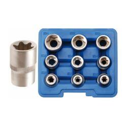 """9 részes E-torx dugókulcs készlet E10 - E24, 1/2"""" műanyag dobozban (BGS-6425)"""