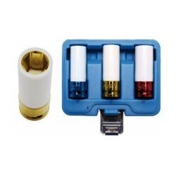 """3 részes gépi védőburkolatos kerékanya dugókulcs készlet, 1/2"""" műanyag borítással, 17-19-21 mm (BGS-7200)"""