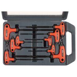 torx kulcs klt., 9db ; CV., gumírozott T-nyelű, T10×100, T15×100, T20×100, T25×150, T27×150, T30×150, T40×150, T45×200, - (8819401)