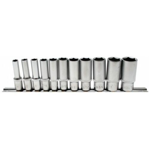 """11 részes hosszított dugókulcs készlet, 3/8"""", coll méretekben sínen (BGS-2756)"""