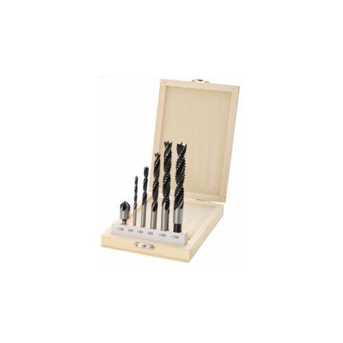 BGS Technik fa maró oldalazó fúró 6 részes készlet fához süllyesztő fúróval fadobozban 4-12mm BGS-50401
