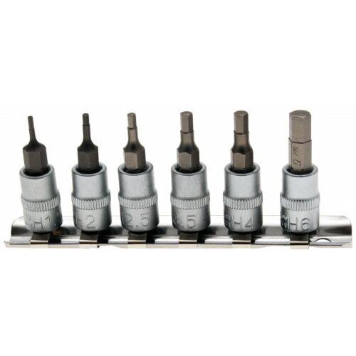 """1/4"""" bit dugókulcs készlet imbusz 6 részes  1,5 -6 mm sínen (BGS-5151)"""